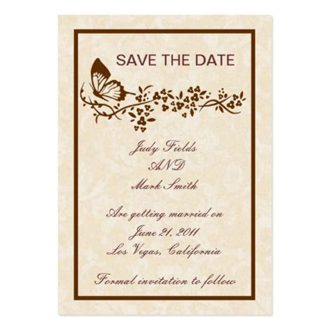 elegant butterfly wedding save the date card business card