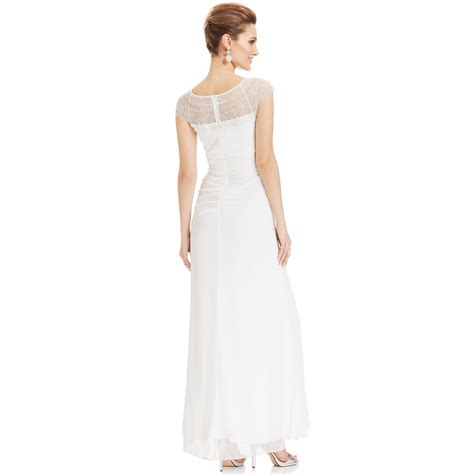 xscape beaded illusion gown xscape cap sleeve illusion beaded gown in white ivory lyst