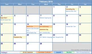 February 2018 Calendar With Holidays February 2018 Calendar With Holidays As Picture
