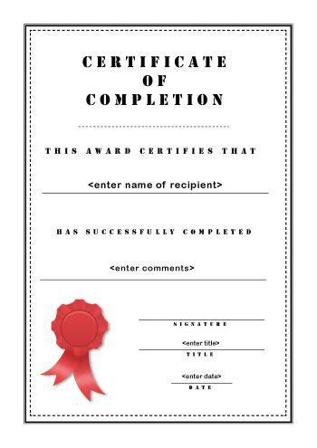completion certificate template free course completion certificate template completion