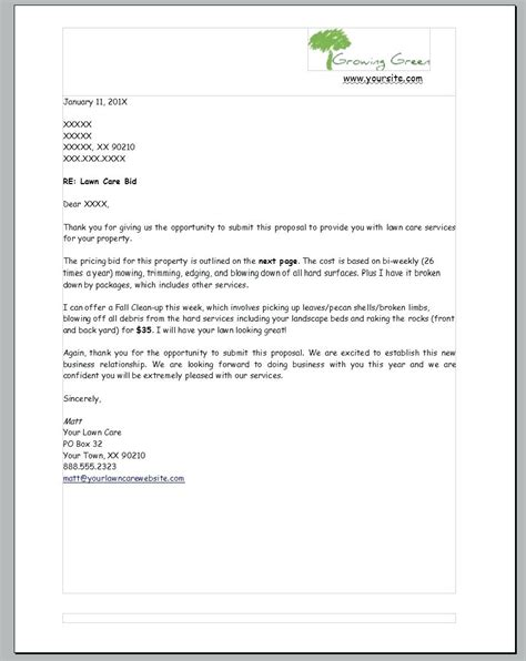 bid free template lawn care template