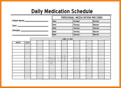 blank medication list templates blank personal medication list template daily pictures to