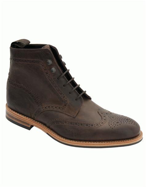 loake loake rimmer distressed brogue boot brown
