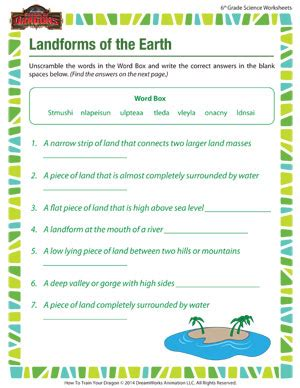 landforms of the earth – printable online 6th grade