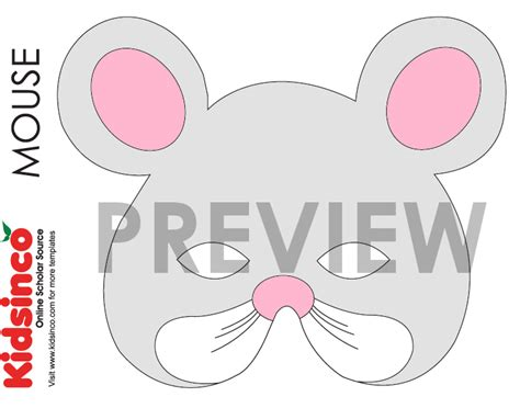 mouse mask template printable animal masks templates k i d s i n co free
