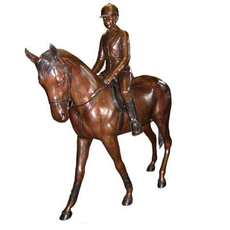 bronzed pony girl rider statue sculpture figurine bronze young girl riding a pony life size statues