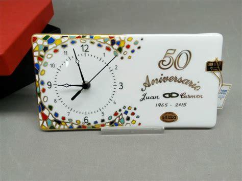 Handmade 50th Anniversary Gifts - handmade glass clock 50th wedding anniversary gift present