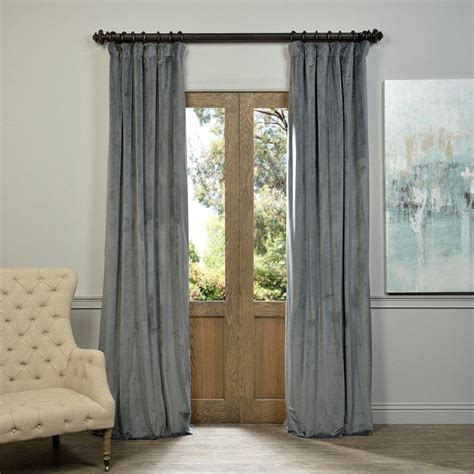 Grey Velvet Curtains Exclusive Fabrics Furnishings Neutral Grey Grommet Blackout Curtain 50 In W X 84 In L