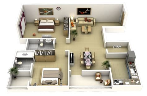 2 bhk flat design 50 plans 3d d appartement avec 2 chambres