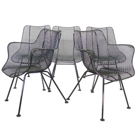 Iron Mesh Patio Furniture Six Wrought Iron With Mesh Dining Chairs By Woodard For Sale At 1stdibs