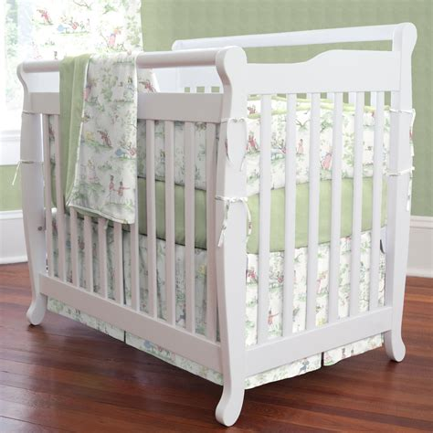 nursery rhyme toile sage  piece mini crib bedding set carousel designs