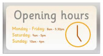 opening hours sign free early years primary teaching