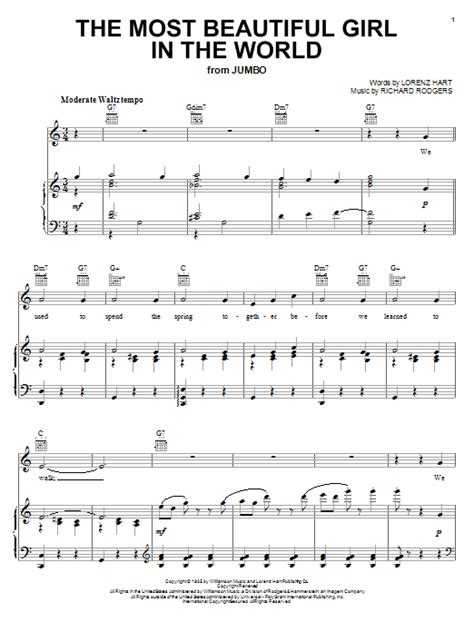 the most beautiful girl in the world sheet music direct
