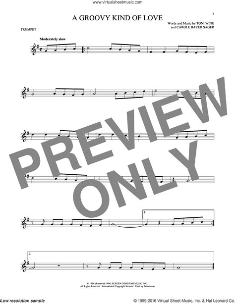 Collins A Groovy Kind Of Love Sheet Music For Trumpet Solo