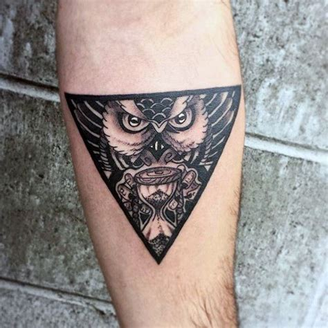 owl tattoos for men mystical owl goblet triangle on arms for