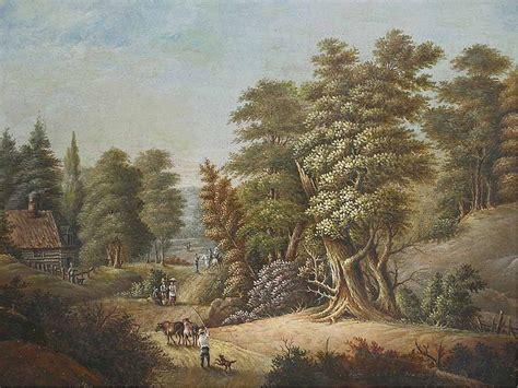 Landscape Paintings Usa Antique Western Painting Landscape Log Cabin Woods