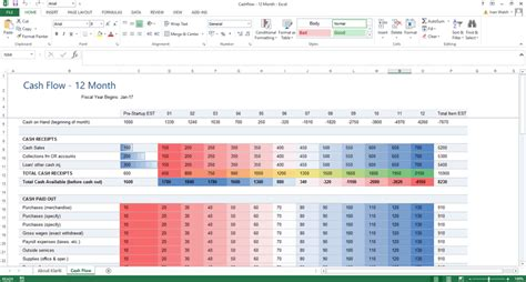 excel template cash flow forecast  conditional