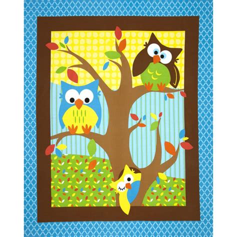 Owl Quilting Fabric by Object Moved