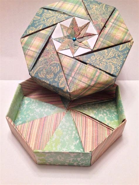 Origami Octagon Box - blue and green plaid and floral octagonal origami gift box