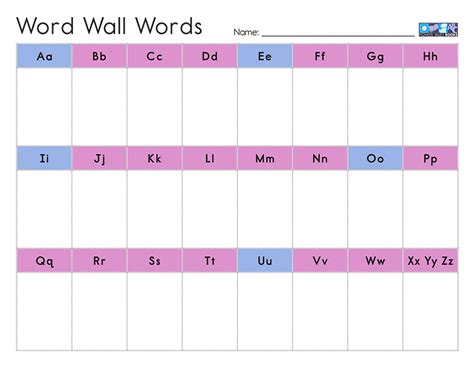 portable word wall template personal word wall pdf related keywords personal word