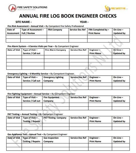 fire safety log book occupier check training