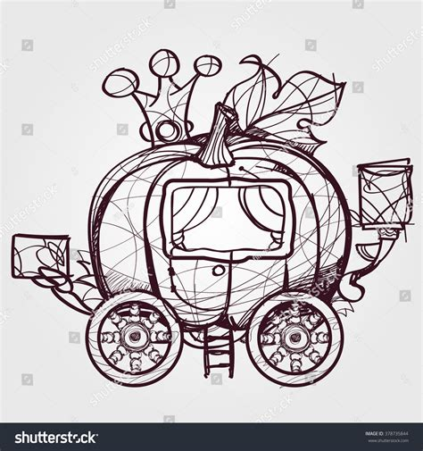 Outline Of A Carriage by Pumpkin Carriage Cinderella Outline Sketch Stock Vector 378735844