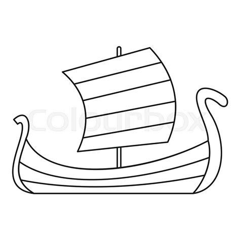 outline of boat medieval boat icon outline illustration of medieval boat
