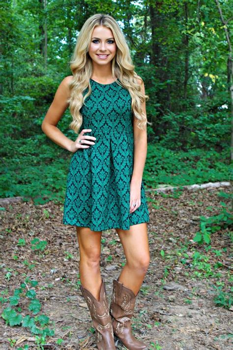 country dresses to wear with boots country style teal green dress with taupe cowboy