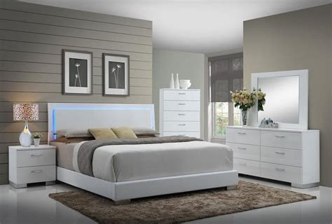 felicity glossy white  led lighting king bed quality furniture  affordable prices
