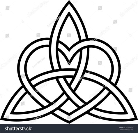 triquetra heart paganism celtic endless knot stock vector