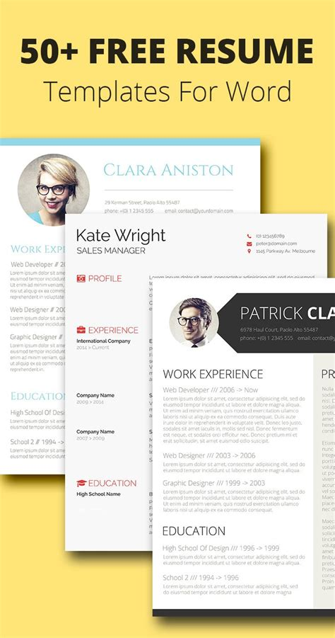 cv resume template word 25 best ideas about templates free on free