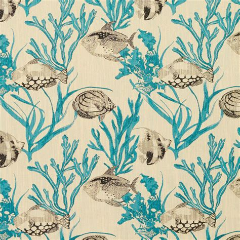 beach themed upholstery fabric teal and grey fish and coral reef designer novelty