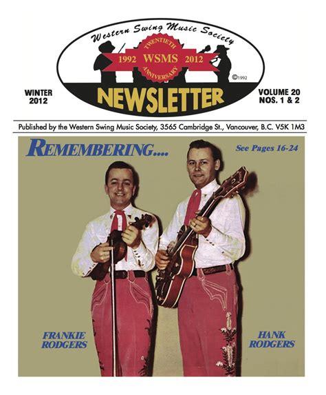 western swing music western swing music society newsletters