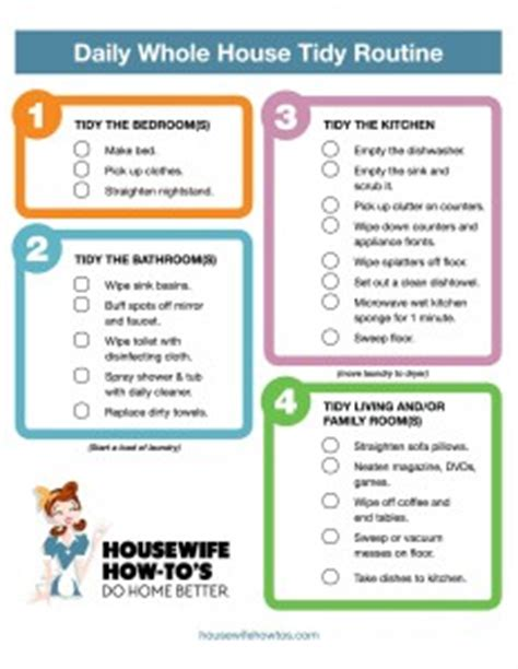 Where Can I Buy A Tiny House daily cleaning routine printable housewife how to s 174