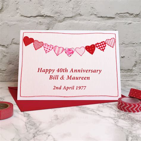 Ruby Wedding Anniversary Quotes by Ruby Wedding 40th Anniversary Card By Arnott Cards