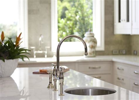 Bridge Faucets Kitchen by Round Prep Sink Transitional Kitchen William Adams