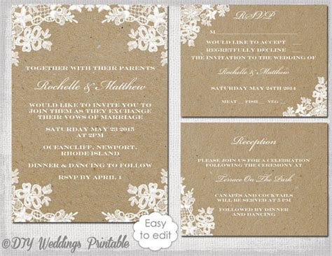 rustic wedding invitations templates rustic wedding invitation set diy rustic lace