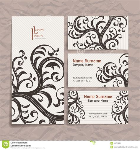 ensemble template card vector vintage card with floral ornament design