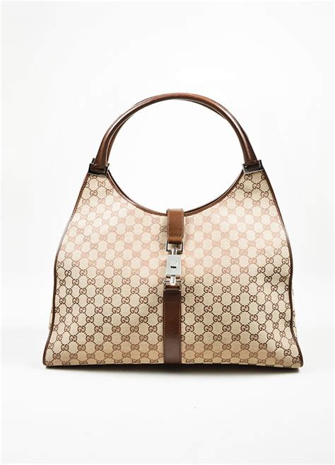 brown gucci monogram canvas  leather bardot bag