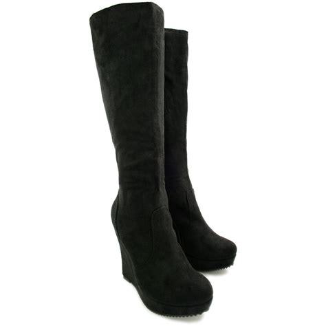 new womens wedge heel platform knee high boots size ebay