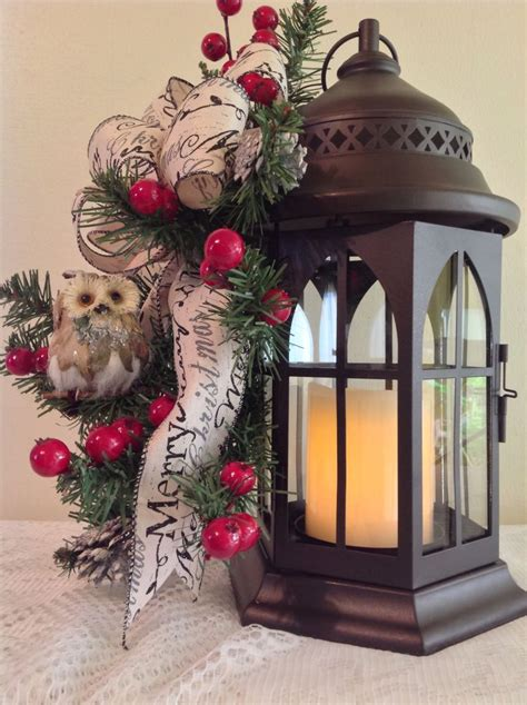 metall lantern  candle owl merry christmas bow red berries small pine cones