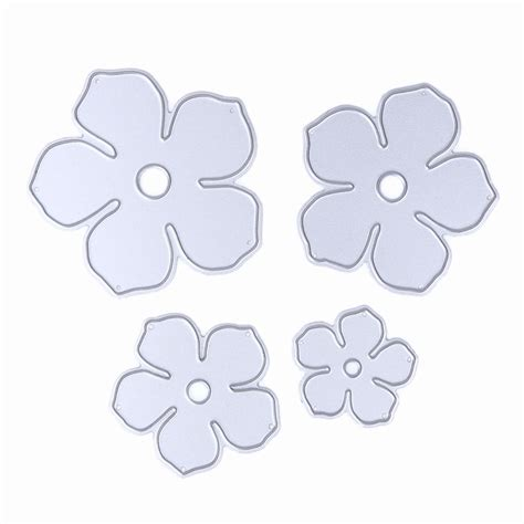 flower die cut template 4pcs set metal flowers diy cutting dies die cut stencil
