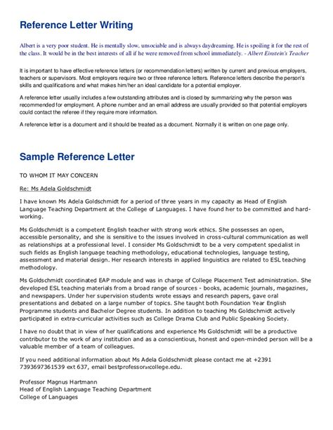 Recommendation Letter For Language Reference Letter Writing