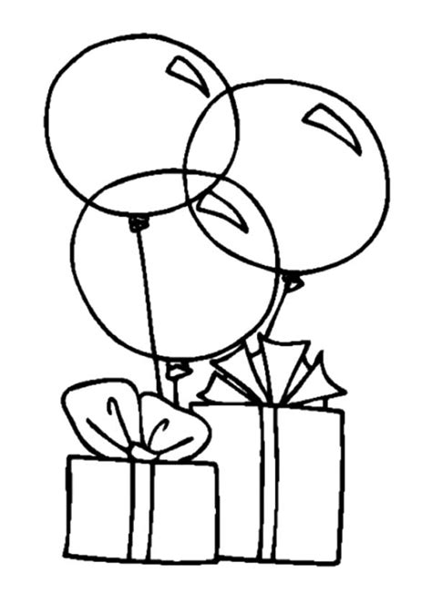 birthday cake and balloons coloring pages image
