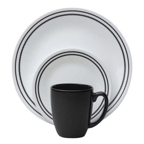 black pattern dinner set corelle brilliant black beads 16 piece vitrelle dinnerware