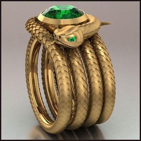 emerald snake ring snake green ring serpentes
