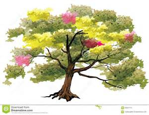 Tree big tree on white background watercolor look with