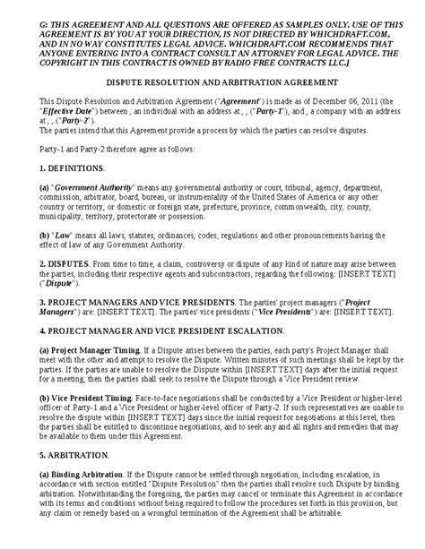 arbitration template dispute resolution and arbitration agreement for binding