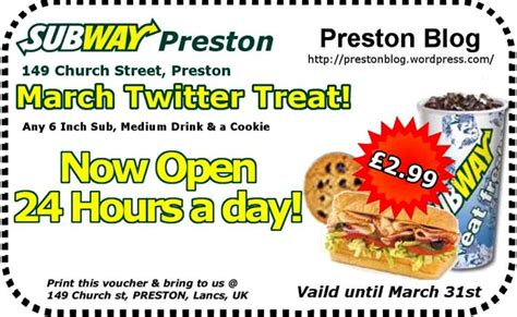 printable subway vouchers uk march twitter treat for all preston blog readers from