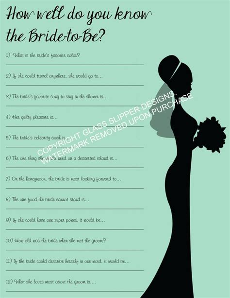 how well do you the bridal shower printable instant printable bridal shower bachelorette printable how well do you
